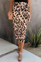 Leopard Print Casual Mid-Calf Skirt