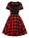 Woman Grid Shirt Fitted Short Sleeves Dress