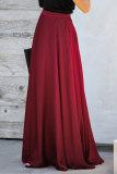 Burgundy Duchess Satin Maxi Skirt