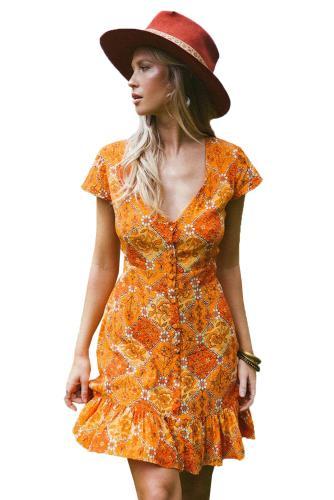 V-Neck Short Sleeves Print Dress
