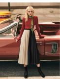 Summer New High-Waist Pleated Skirt Patchwork Chiffon Skirt