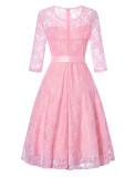 Sexy Lace Waist Tie Elegant Vintage Dress