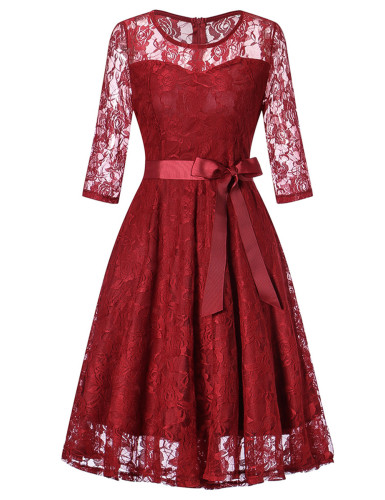 Sexy Lace Waist Tie Elegant Vintage Dress