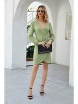 Fashion Girl Lantern Sleeves V-Neck Midi Dress