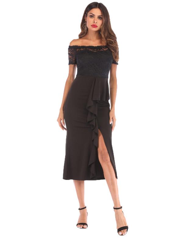 Flower Lace Black Vintage Dress Split Stitching Fashion