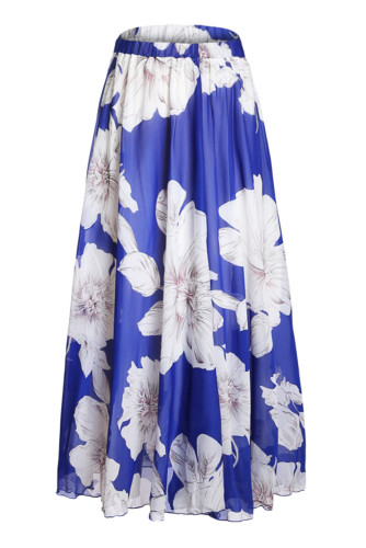 Print Blossoming Floral Chiffon Maxi Skirt