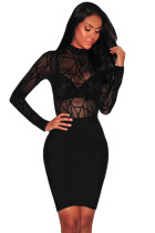Sheer Mesh Geometric Soft Velvet Bodysuit