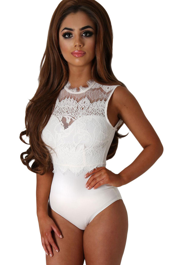 Hollowed-Out Neckline One piece Cut Out Back Lace