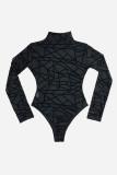 Sheer Mesh Geometric Soft Velvet Bodysuit