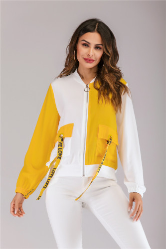 Yellow And White Doulbe-Color Spliced Zipper Jacket