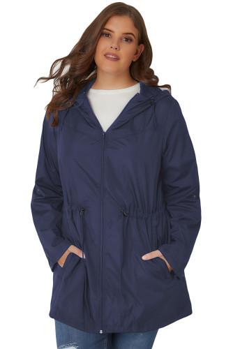 Casual Pocket Hooded Zipper Parka Jacket