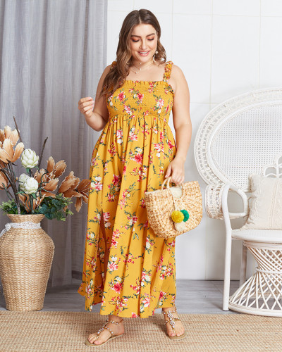 Original Design Plus Size Printed Halter Dress