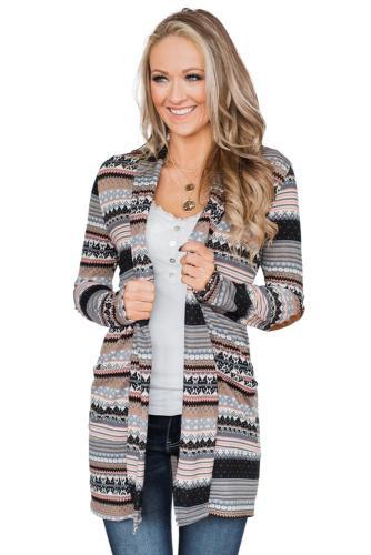 Print Open Front Long Sleeve Casual Cardigan Coat