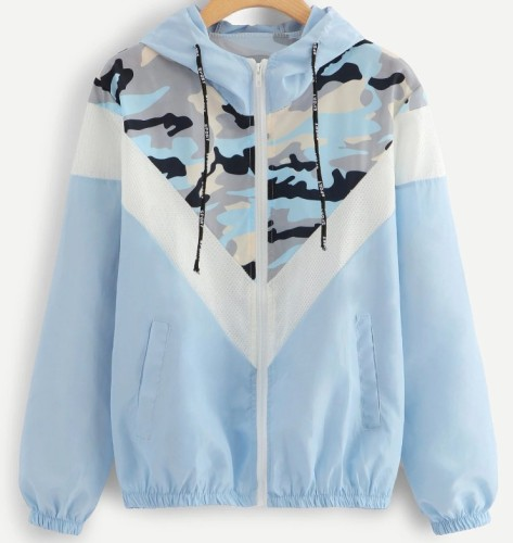 Woman Matching Color Long Sleeve Hooded Geometry Pattern Jacket