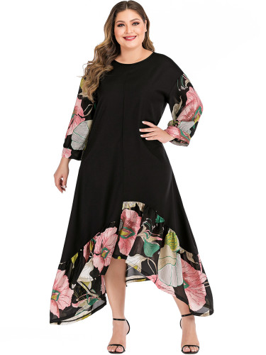 Floral Paint Sleeve and Irrgular Hem Round Collar Dress