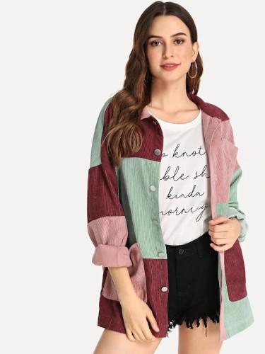New Fashion Patchwork Color Corduroy Slim Women Jacket