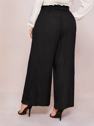 Plus Paperbag Waist Plisse Wide Leg Bottoms