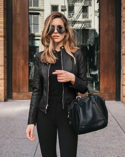 Solid Color Front Zipper Compact Fashion Jacket