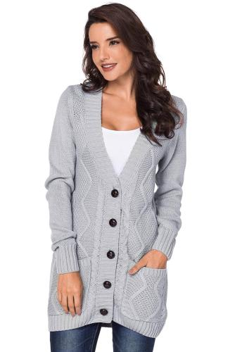 V-Neck Front Pocket Buttons Closure Cardigan