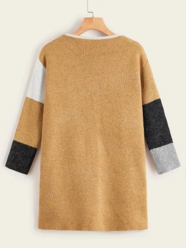 Patchwork Contrast Color Long Sleeve Loose Sweater Cardigan