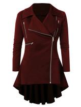 Lapel Zipper Coat Swallowtail Retro Ruffled Asymmetrical Plus Dress