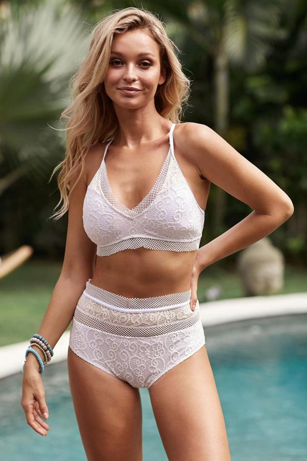 Solid Color Captured Lace-Trim Bikini Top & High-Waist Bottoms