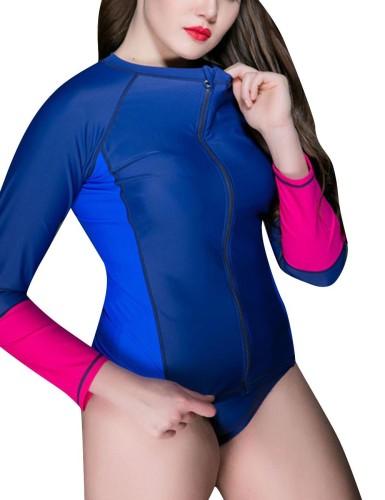 Contrast Color Zipper Plus Size Sport Top For Women