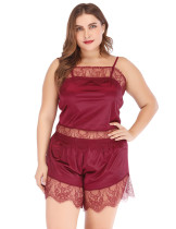 Seductive Red Sling Lace And Scallop Sleepwear Set