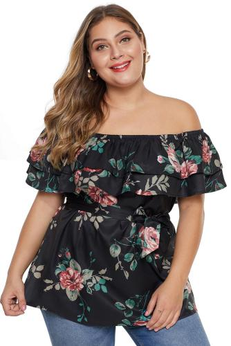 Plus Size Floral Print Tiered Off Shoulder Top