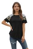 Striped Leopard Print Short Sleeve Women T-shirt