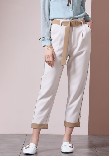 White Straight Waist Tie Casual Jeans