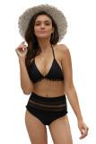 Mesh Insert High Waist With Pom Pom Bikini