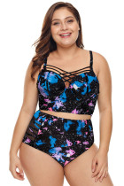 Stylish Print Criscross Strappy plus size Bikini