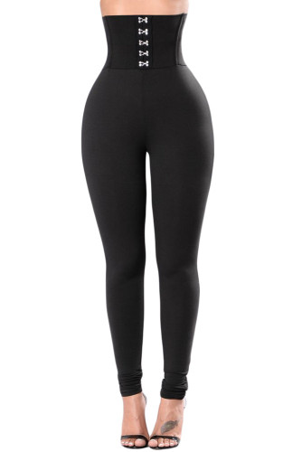 Women's Black High Waisted Buttons Lift Buttock Casual Leggings