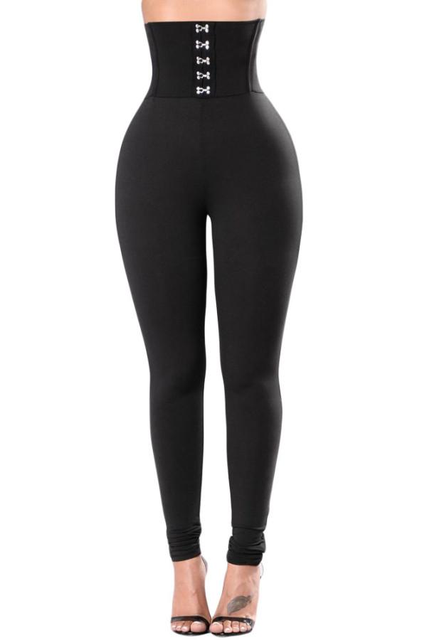Women's Black High Waisted Buttons Lift Buttock Casual Leggings