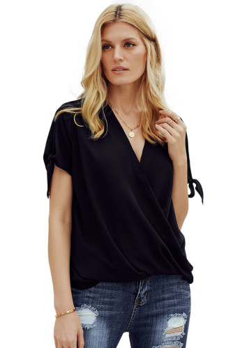 Bowknot Sleeves Drape Casual Wear Top