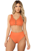 High-Waisted Solid Color Lace-Up Bikini