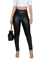 Black High Waist PU Leggings