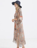 Exquisitely Sunscreen Printed Swimming Cover Up Fringe