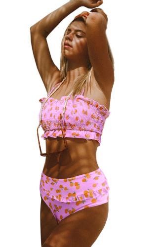 Floral Print Crop Top Bikini Set