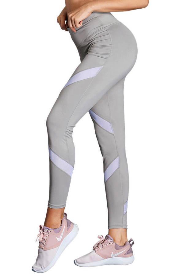 Gray High Waist Sport Yoga Pants with Colorblock