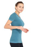 Mesh Seamless Sport Top Short Sleeves For Women