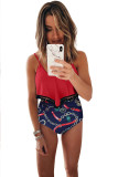 Tassel Solid Color Print High Waist Swimsuit