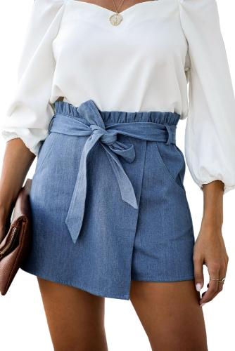 Sky Blue Waist Tied Layered Pocketed Denim Wrap Short