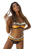 Mix Color Gradient Block Push Up Bikini Swimwear