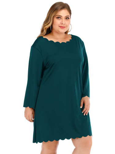 Delicate Corruguated Hem Full Sleeves Plain Queen Size Dress Nice Quality