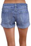 Light Blue Ripped Vintage Denim Shorts