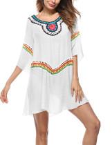 Round Print Neck Openwork Summer Beach Cover Dress