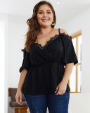 Plus Size Lace Top With Suspenders Black Slim T-Shirt