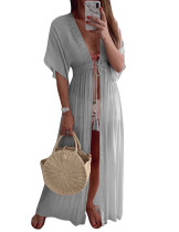 Holiday Waist Slim Light Long Solid Color Beach Dress